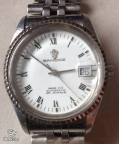 Jam Sandoz white steel vintage watch