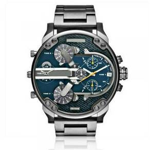 Dual Time Black Blue Stainless Steel Watch