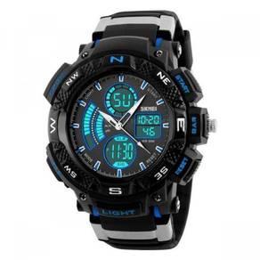 50M WR Analog Digital Black Blue Sports Watch