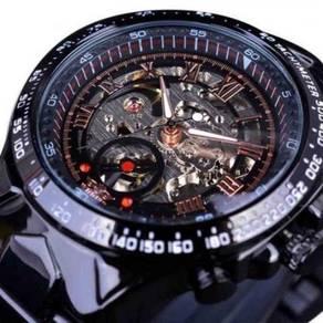 Skeleton Automatic Mechanical Black Steel Watch