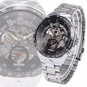 Skeleton Automatic Mechanical Steel Watch