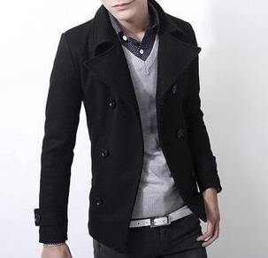 (363) Black Winter Blazer Suit Man Coat Jacket