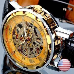 Gold Skeleton Semi Automatic Leather Watch