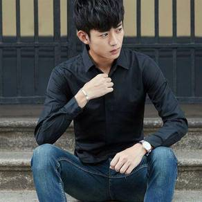 (570) Black Classic Plain Man Long Sleeved Shirt