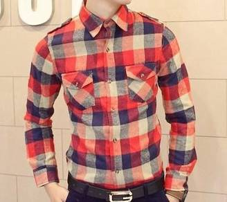 (517A) Colorful Plaid Orange Long-Sleeved Shirt