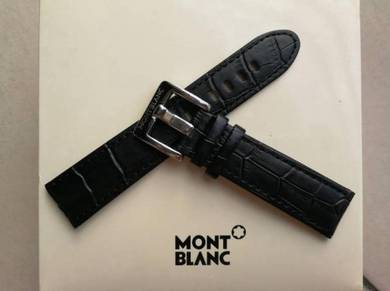 MONT BLANC 22mm Black Leather Watch Strap