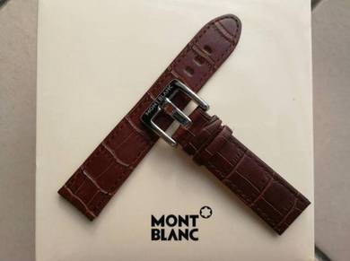 MONT BLANC 22mm Brown Leather Watch Strap