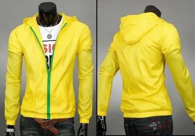 (349) Yellow Hoodie Casual Man Jacket Sweater