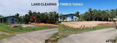Timbus clearing tanah roboh bangunan jalan gravel