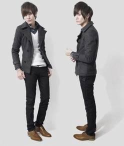 (363) Grey Winter Blazer Suit Men Coat Jacket
