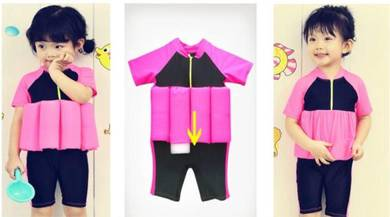 Baju Renang Girl Kids Floating Swim Suit+Cap-PINK