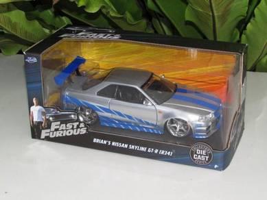 Jada 1-24 Fast & Furious Brian's Skyline GTR (R34)