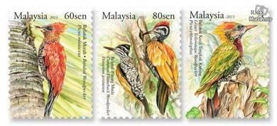 Mint Stamp Woodpecker Belatuk Malaysia 2013