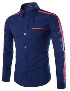 0587 Business Dark Blue Formal Long Sleeved Shirt