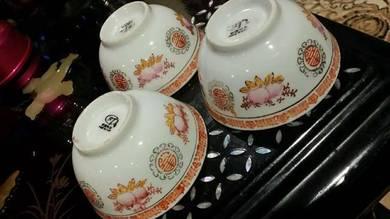 Chinese vintage antique 3pcs bowls SLG