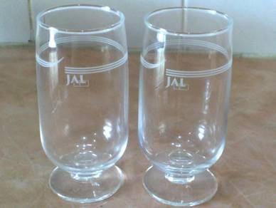 Cawan JAL Japan Airlines footed glass cup
