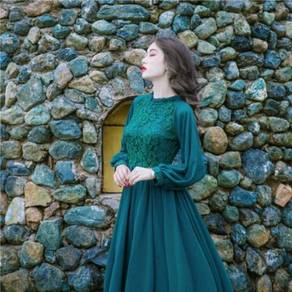 Green long sleeve Muslimah layered maxi prom dress