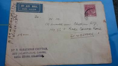 Antik Cover Kelantan Singapore 1950 no 1877 RARE