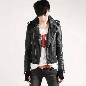 (3577) Korean Black Zipper Stylish Leather Jacket