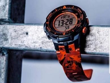 Ready stock casio protrek orange camo prg-300cm-4