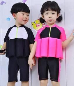 Baju Renang Girl Kids Floating Swim Suit Cap-BLACK