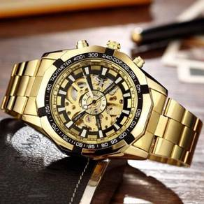 Gold Skeleton Automatic Mechanical Steel Watch