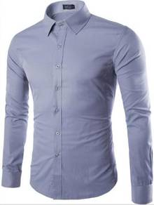 530B Grey Plain Formal Casual Long Sleeved Shirt