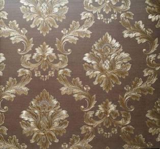 Golden Brown Damask Wallpaper