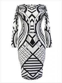 Tribal Aztec Black White Sexy bodycon elegant dres