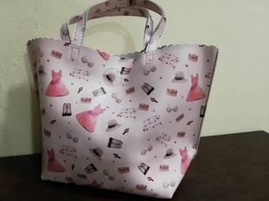 Tote Bag Beg Pink Patterned M 33cm x 33cm x 8cm