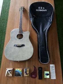 Brandnew 41inc Retro Grey Acoustic Guitar Packag