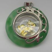 ABPJ-D074 Green Jade Rotate Dog Pendant Necklace