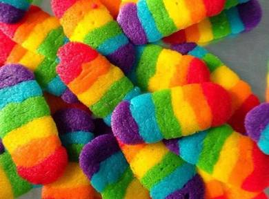 Rainbow cookies/ biskut lidah kucing pelangi