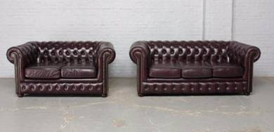 Sofa Set Leather Chesterfield 3 + 2 Seater