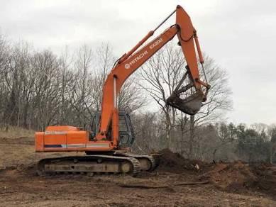 Bersih kawasan kebun & Excavator & Rata tanah