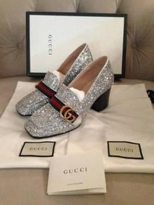 Gucci peyton marmont gg logo glitter mid heel loaf