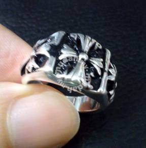 ABRS9-C015 Silver 925 Black Cross Magic Ring Sz 7