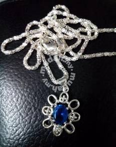 ABPS9-F003 925 Silver Flower Blue Crystal Pendant