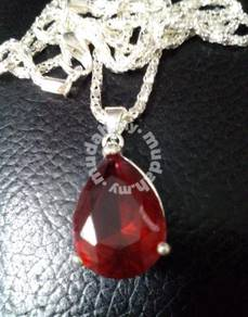 ABPS9-H001 925 Silver Heart Red Crystal Pendant