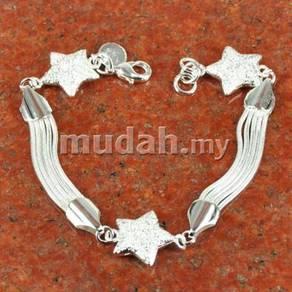 ABBS9-S025 Fashion 925 Silver Line Stars Bracelet