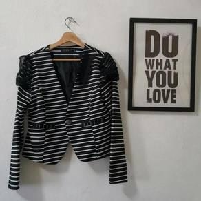 Black white stripe OL office formal blazer jacket
