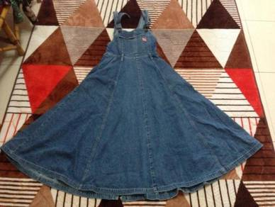 Overall denim princess cut