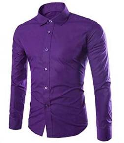 0530 Dark Purple Office Formal Long Sleeved Shirt