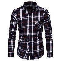 7311 Black Plaid Long Sleeved Shirt Kemeja Hitam