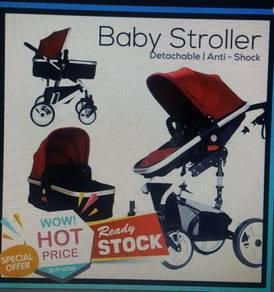 Baby stroller anti shock detachable bassinet