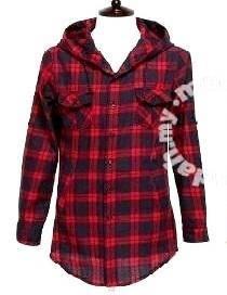 0297 Kemeja Hoodie Merah Red Lengan Panjang Shirt