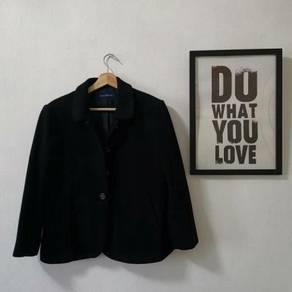 Black winter autumn wool blazer jacket plus size