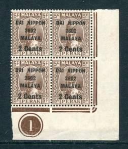 Malaya 1942 Jap Occup 2c on 5c B/4 M/M BK920