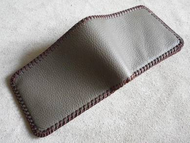 Grey handmade leather wallet brown stitch