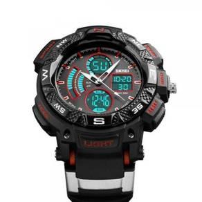 50M WR Analog & Digital Black Red Sports Watch